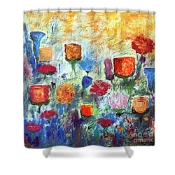 Shower Curtain featuring the painting Colorful Garden by Haleh Mahbod