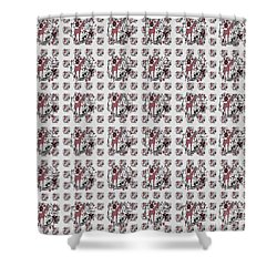 Shower Curtain featuring the drawing Colorful Giraffe Illustration Pattern by Saribelle Rodriguez
