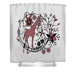 Shower Curtain featuring the drawing Colorful Giraffe Illustration by Saribelle Rodriguez