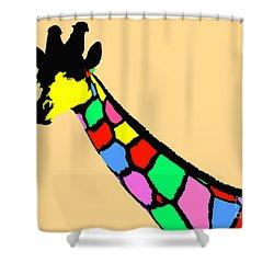 Shower Curtain featuring the digital art Colorful Giraffe by Maja Sokolowska