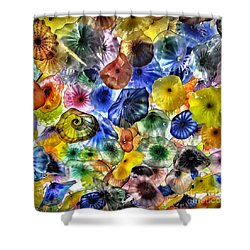 Colorful Glass Ceiling In Bellagio Lobby Shower Curtain by Walt Foegelle