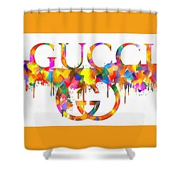 Colorful Gucci Paint Splatter Shower Curtain