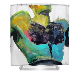 Shower Curtain featuring the painting Colorful Hairy Boxer by Shungaboy X
