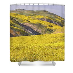Shower Curtain featuring the photograph Colorful Hill And Golden Field by Marc Crumpler