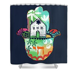 Shower Curtain featuring the mixed media Colorful Home Hamsa- Art By Linda Woods by Linda Woods