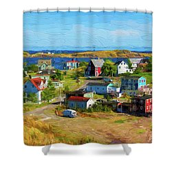 Colorful Homes In Trinity, Newfoundland - Painterly Shower Curtain by Les Palenik