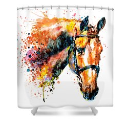 Shower Curtain featuring the mixed media Colorful Horse Head by Marian Voicu
