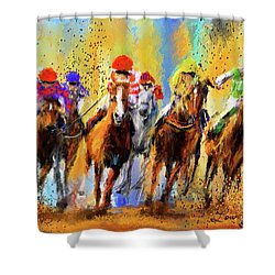 Colorful Horse Racing Impressionist Paintings Shower Curtain