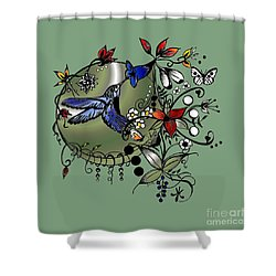 Shower Curtain featuring the drawing Colorful Hummingbird Ink And Pencil Drawing by Saribelle Rodriguez