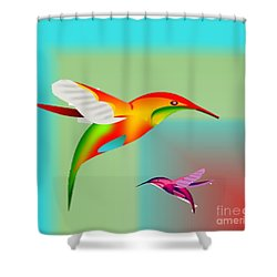Colorful Hummingbirds Shower Curtain