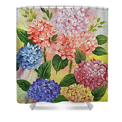 Shower Curtain featuring the painting Colorful Hydrangeas by Jimmie Bartlett
