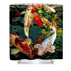 Colorful  Japanese Koi Fish Shower Curtain
