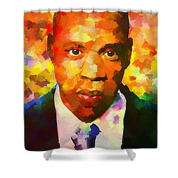 Colorful Jay Z Palette Knife Shower Curtain by Dan Sproul