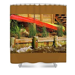 Shower Curtain featuring the photograph Colorful Kayak Duo by Lois Bryan