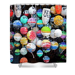 Colorful Key West Lobster Floats Shower Curtain