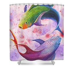 Shower Curtain featuring the painting Colorful Koi by Darice Machel McGuire