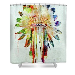 Colorful Lakota Sioux Headdress Shower Curtain by Olga Hamilton