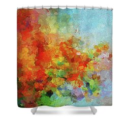 Shower Curtain featuring the painting Colorful Landscape Art In Abstract Style by Ayse Deniz