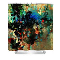 Shower Curtain featuring the painting Colorful Landscape / Cityscape Abstract Painting by Ayse Deniz