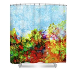 Shower Curtain featuring the painting Colorful Landscape Painting In Abstract Style by Ayse Deniz