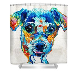 Colorful Little Dog Pop Art By Sharon Cummings Shower Curtain by Sharon Cummings