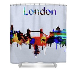 Colorful London Skyline Silhouette Shower Curtain by Dan Sproul