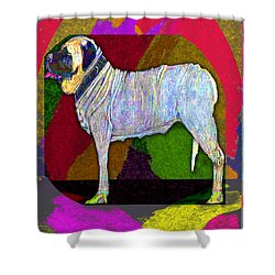 Shower Curtain featuring the drawing Colorful Mastiff by Michelle Audas