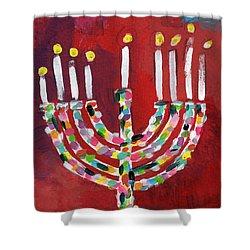 Colorful Menorah- Art By Linda Woods Shower Curtain