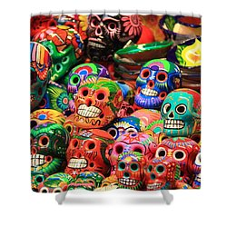 Colorful Mexican Day Of The Dean Ceramic Skulls Shower Curtain