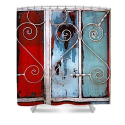colorful Mexico abstract photography - Red White and Blue Door Shower Curtain