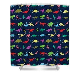 Colorful Mini Dinosaur Shower Curtain by Naviblue