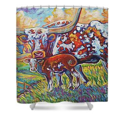 Shower Curtain featuring the painting Colorful Momma by Jenn Cunningham