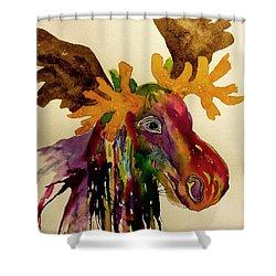 Colorful Moose Head - Jewel Tone Shower Curtain