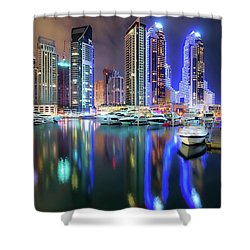 Colorful Night Dubai Marina Skyline, Dubai, United Arab Emirates Shower Curtain