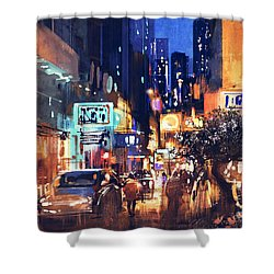 Colorful Night Street Shower Curtain
