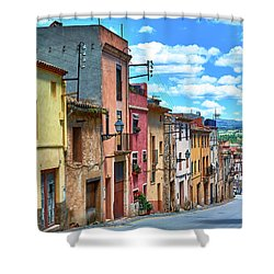 Colorful Old Houses In Tarragona Shower Curtain