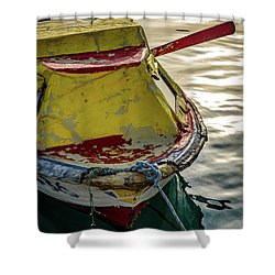 Colorful Old Red And Yellow Boat During Golden Hour In Croatia Shower Curtain