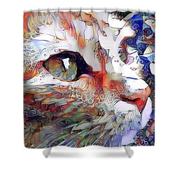 Colorful Orange Cat Art Shower Curtain