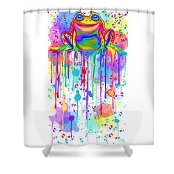 Shower Curtain featuring the painting Colorful Painted Frog  by Nick Gustafson