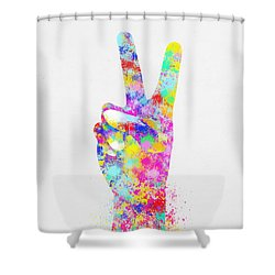 Colorful Painting Of Hand Point Two Finger Shower Curtain by Setsiri Silapasuwanchai