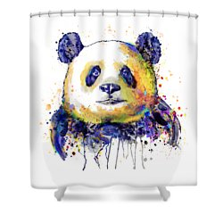 Shower Curtain featuring the mixed media Colorful Panda Head by Marian Voicu