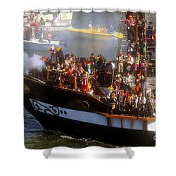Colorful Pirates Shower Curtain by David Lee Thompson