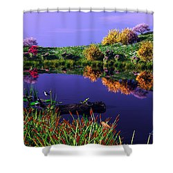 Colorful Pond Shower Curtain by Walter Colvin