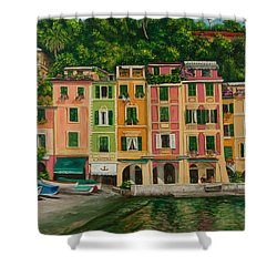 Colorful Portofino Shower Curtain by Charlotte Blanchard