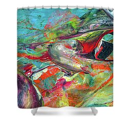 Colorful Puffin Bird Art - Happy Abstract Animal Birds Painting Shower Curtain
