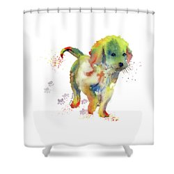 Colorful Puppy Watercolor - Little Friend Shower Curtain by Melly Terpening