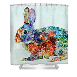 Colorful Rabbit Art Shower Curtain by Olga Hamilton