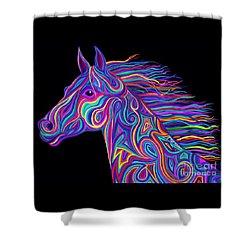 Colorful Rainbow Stallion  Shower Curtain