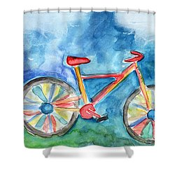 Colorful Ride- Bike Art By Linda Woods Shower Curtain