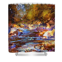 Colorful River Shower Curtain
